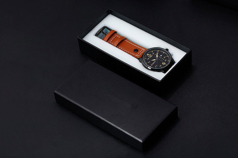 Hot Stamping Mens Leather Watch Box , Watch Gift Box Inside White Foam Materials